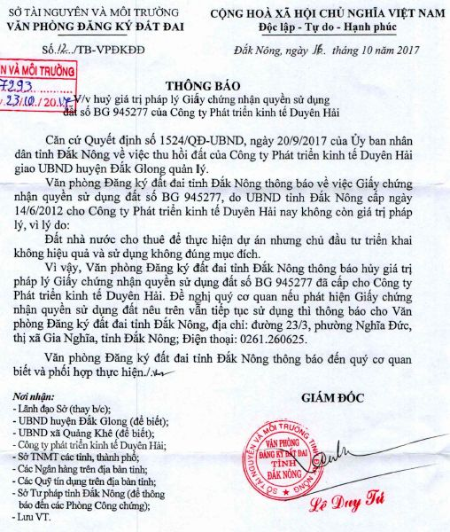 TB 12 VPDK DD Dak Nong