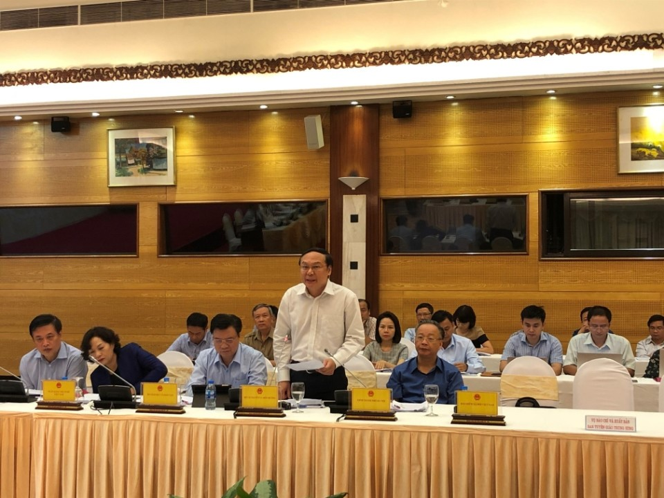 Thứ trưởng Bộ TN&MT Lê Công Thành phát biểu tại buổi họp báo Chính phủ thường kỳ chiều 1/10/2018